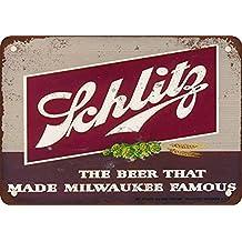 "metal Signs 1947 Schlitz Beer Vintage Look Reproduction Metal Tin Sign, 12"" L X 18"" W"