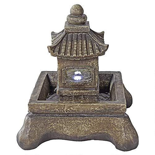 Asian Decor Water Fountain with LED Light - Mokoshi Pagoda Fountain - Outdoor Water Feature (Pagoda Designs Outdoor)