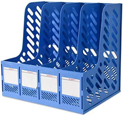 Blue Sturdy Desktop Triplicate Magazine Literature Plastic Holders Frames File Dividers Document Cabinet Rack Display and Storage Organiser Box 4-Compartment File Holder