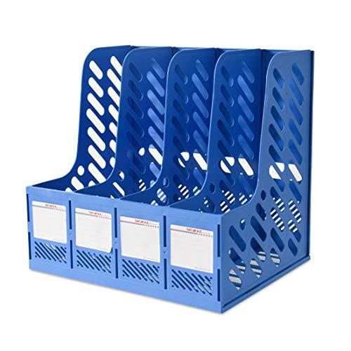 Marte Vanci - Revistero de 4 secciones de plastico resistente con marcos, separadores de archivos, archivador, documento, oficina, escuela, escritorio, caja organizadora, azul