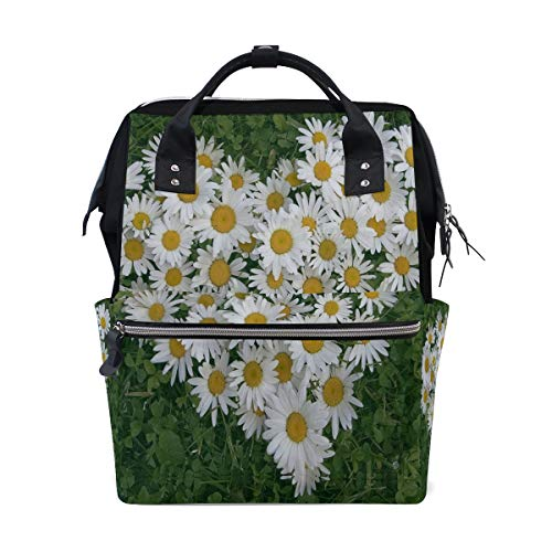 Fashion Diaper Bags Mummy Backpack Heart Of Flowers White Daisy Multi Functions Large Capacity Nappy Bag Nursing Bag for Baby Care for Traveling - Hpi Carrying Bag