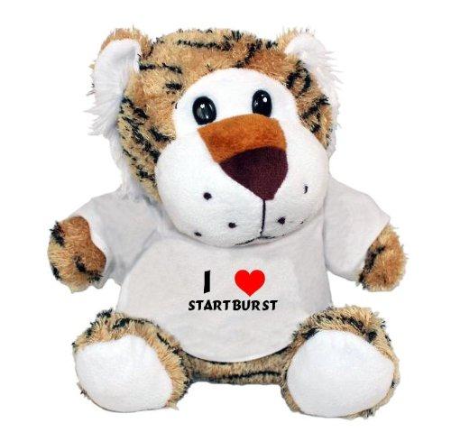 Plush Tiger Toy with I Love Startburst t-shirt (first name/surname/nickname)