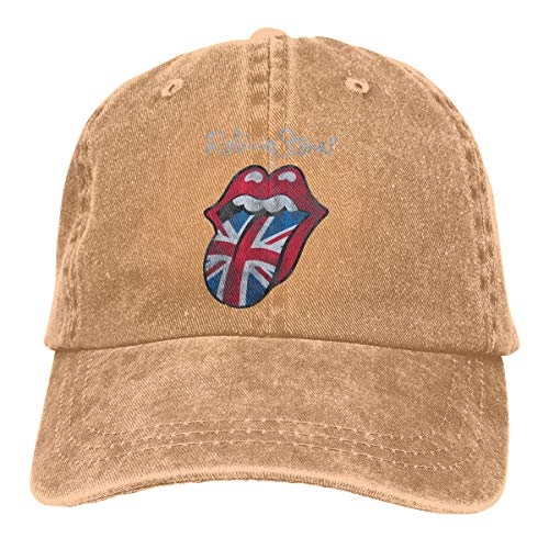 Rolling Stones Embroidered Hat - DADAJINN The Rolling Stones Distressed Union Jack Adjustable Tennis Cotton Washed Denim Hat Natural