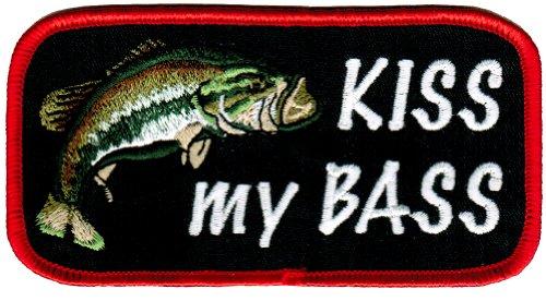 Kiss My Bass Embroidered Patch Largemouth Bass Fishing Iron-On Novelty Joke Gift
