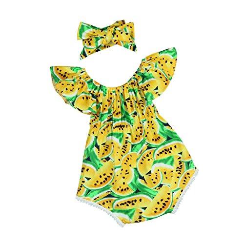 Mono Bebé, Amlaiworld Bebé Infantil Imprimir Imprimir Conjunto de ropa de mono de hombro 0-24 Mes Amarillo