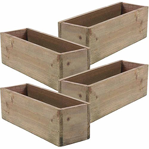 Wooden Planter Box, Rustic Barn Wood, Plastic Liner, Garden Decor, Restaurant and Wedding Decorations, Wedding Bouquets, Table Centerpiece, Rectangle, 12 x 4 Inches, (Rectangular), (Set of 4)]()