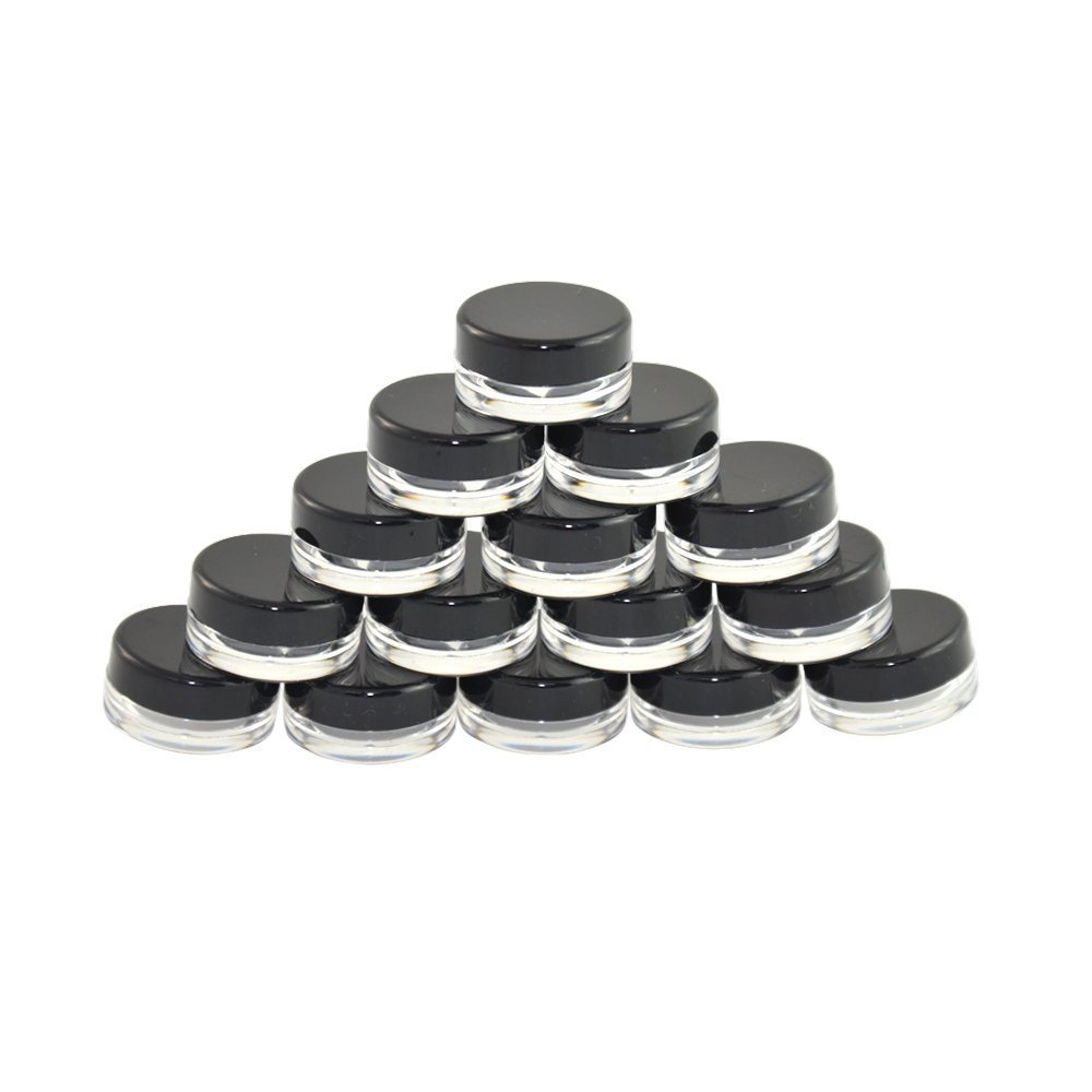 TOPWEL 3 Gram 3g Refillable Plastic Screw Cap Lid with Clear Base Empty Plastic Container Jars for Nail Powder Bottles Eye Shadow Container Lot Powder Container-Pack of 50 (Black)