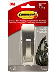 Command MR03-BN-EF Modern Reflections Metal Hook, Large, Brushed Nickel, 1 Hook 2 Large Strips