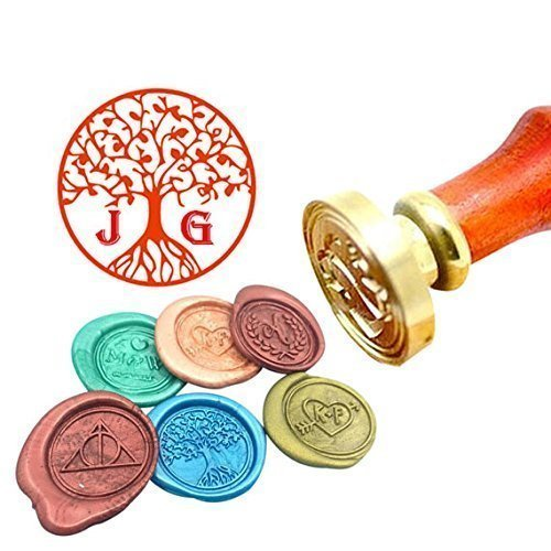 Kooer Custom Personalized Monogram Tree Of Life Wax Seal Stamp Sealing Kit Initial Date Wedding Invitation
