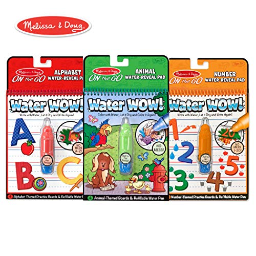 Melissa & Doug Water Wow! Reusable Color with Water On the Go Activity Pad 3-Pack, Animals, Alphabet, Numbers]()