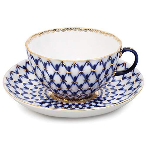 "Imperial/Lomonosov Porcelain Teacup w/Saucer""Tulip Cobalt Net"""