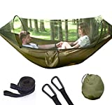 Camping Hammock with Mosquito/Bug Net, Single &Double Hammock Lightweight Portable Parachute Nylon 1/2 Person Hammock for Camping, Backpacking, Survival, Travel & Mo(290X140cm)