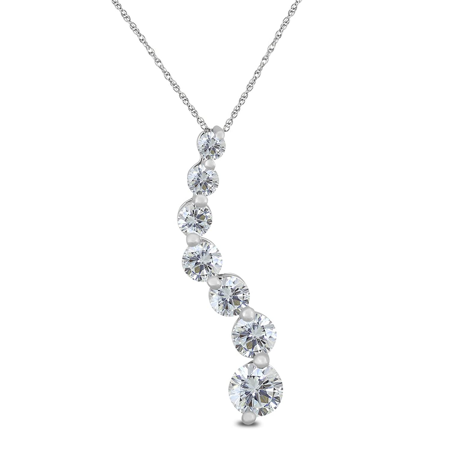 1/2 Carat Diamond Journey Pendant in 10K White Gold