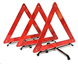 BRUFER 3-Pack Emergency Roadside Safety Triangle with Reinforced Cross Base and Carrying Case