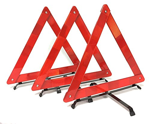 BRUFER 3-Pack Emergency Roadside Safety Triangle with Reinforced Cross Base and Carrying Case ()