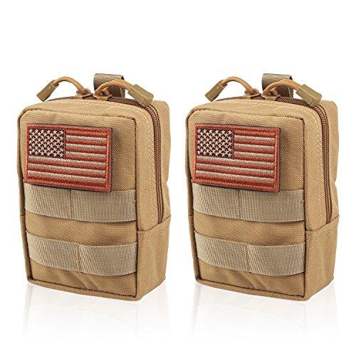 AMYIPO MOLLE Pouch Multi-Purpose Compact Tactical Waist Bags Small Utility Pouch (Khaki (2 (Multi Purpose Flag)