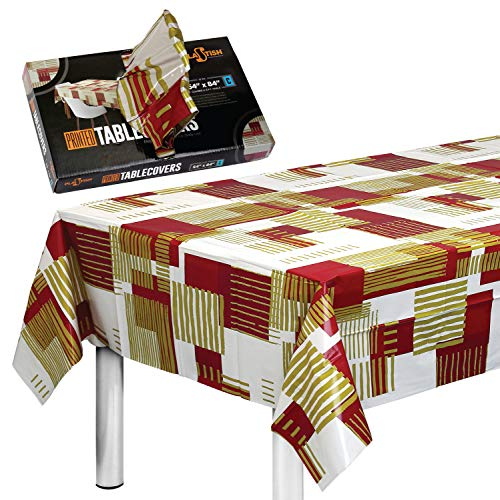 Disposable Plastic Tablecloths Fully Printed - Size 54 X 84 Inches - 17 Table Covers - for a 6 Foot Rectangle Picnic Party Table