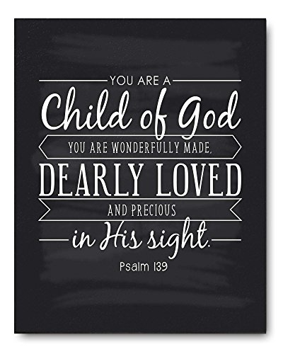 Child of God Quote Sign, Christening Gift, Baptism Gift, Unique Communion Gift or Baby Gift, Perfect for a Godson or Goddaughter Gift - Beautiful Typography Artwork by Ocean Drop Designs -