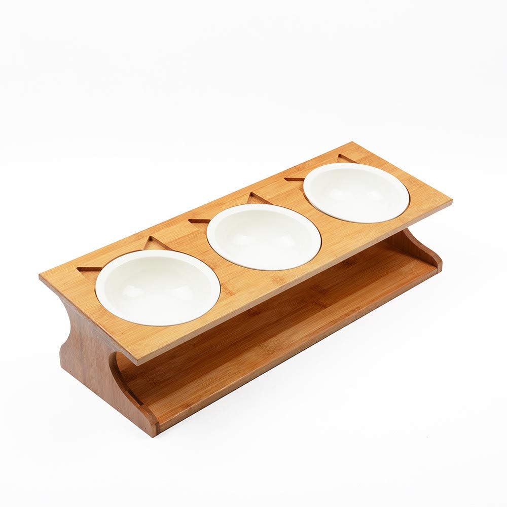 Petilleur Wooden Pet Bowls Elevated Pet Bowls with Stand for Cats and Dogs (3 Bowls, Ceramic)