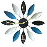 Cheap SparrK Retro European Industrial Craft Iron Leaves Non-Sticking Creative Mute Wall Clock 22″ (Blue)