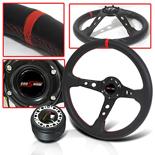 Wheel Drift (350mm Steering Wheel Deep Dish Red Stitch with Hub Adapter and Horn Button)
