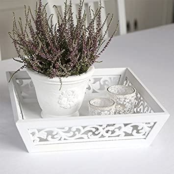 Plateau romantique de décoration à rOSALIE-blanc-grand: Amazon.fr ...
