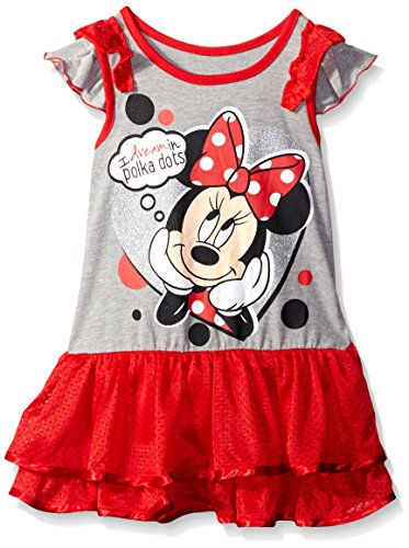 Disney Little Girls' Minnie Rocks The Dots Tunic with Ruffled Sleeves, Gray, (Girls Ruffled Tunic)