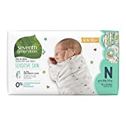 Seventh Generation Free and Clear Sensitive Skin Unbleached Newborn Baby Diapers with Animal Prints 36 Count