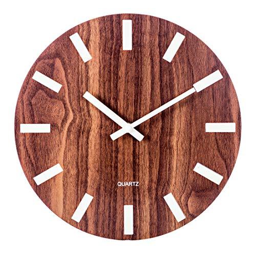 Price comparison product image BANDRA Luminous Wanduhr 30CM Holz leise nicht tickende Wanduhren mit Nachtlichter für Küche Wohnzimmer Schlafzimmer Dekor batteriebetrieben Holz Farbe