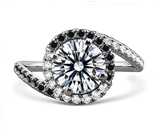 Diamonbella.com 10 Hearts & Arrows 81 Facets 2 Carats Pave Spiral Halo Black & White Simulated Diamond Ring 925 Silver cz cubic zirconia RSPIRALBW-55 price tips cheap