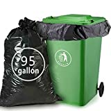 Nicesh 95 Gallon Black Trash Can Liners, 61'' W x 68'' H, 26 Garbage Bags/Case