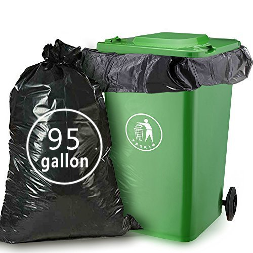 Nicesh 95 Gallon Black Trash Can Liners, 61 W x 68 H, 26 Garbage Bags/Case 61 W x 68 H Niceshoes H&PC-78605