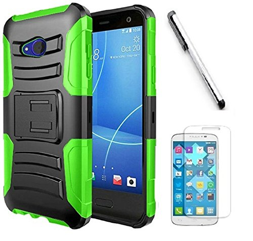 Snap Htc Phone (HTC U11 Life (T-Mobil) case, Luckiefind Dual Layer Hybrid Side Kickstand Cover Case With Holster Clip, Stylus Pen Accessories (Holster Green))