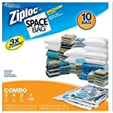 Ziploc Space Bag 10 Bag Space Saver Set Clear Vacuum Seal Bags Airtight & Watertight Seal Sizes Included: M L XL Jumbo by Thasaba