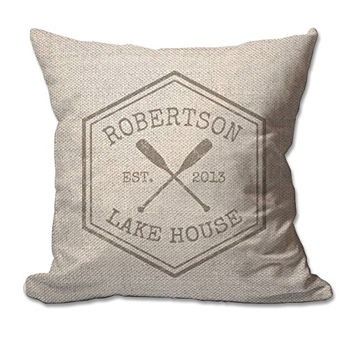 Cheap Personalized Crossed Oars Lake House Textured Linen Throw Pillow