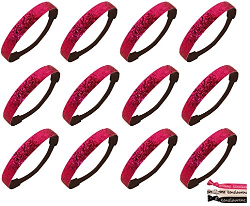 - Kenz Laurenz 12 Pack Glitter Headbands Hot Pink (Available in LOTS of COLORS) - Elastic Stretch Sparkly Fashion Headband for Teens Girls Women Softball Volleyball Basketball Sports Teams Set Hair Accessories Store (Hot Pink)