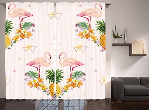 Ambesonne Flamingo Decor Collection, Geometric Pineapple Flamingo Tropical Summer Party Theme Artistic Design, Living Room Bedroom Curtain 2 Panels Set, 108 X 84 inches, Crimson Green Mustard White