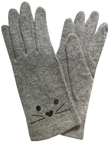 Zoncinoo ウール 手袋 タッチパネル対応 グローブ スマホ手袋 レディース 冬 薄手 女性 防寒手袋 可愛い 猫柄 てぶくろ