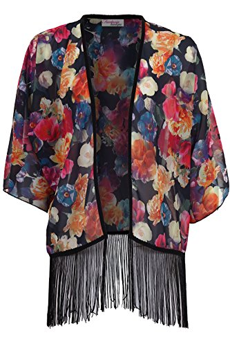 FANTASIA BOUTIQUE Señoras 3/4 Manga Frente Abierto Gasa Con Estampado Floral Translúcido Mujer Kimono Estampado 3