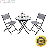 COLIBROX--3 Piece Table Chair Set Metal Tempered Glass Folding Outdoor Patio Garden Pool. metal patio furniture clearance. patio furniture clearance. amazon table and chairs glass metal.