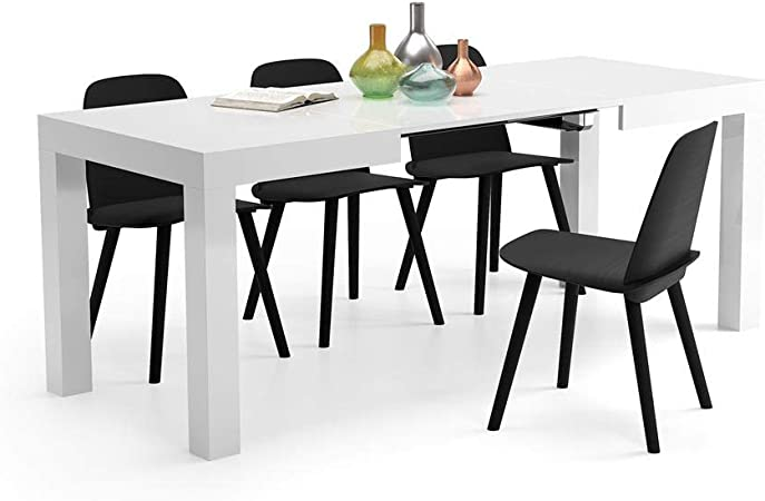 Comprar Mobili Fiver, Mesa de Cocina Extensible, Modelo First, Color Blanco Brillante, 120 x 80 x 76 cm, Made in Italy