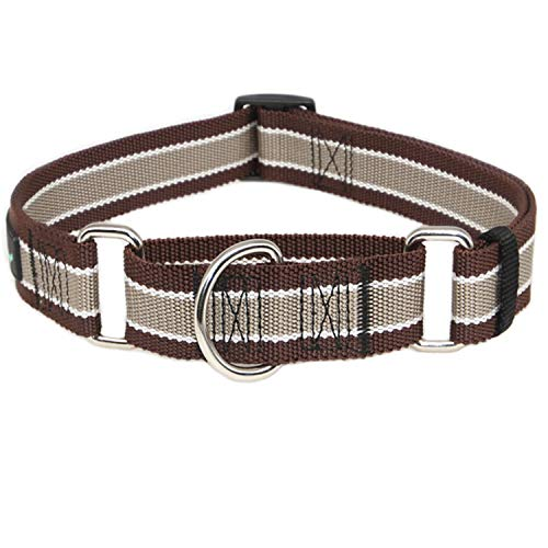 Dazzber Wide Martingale Dog Collar, Khaki White and Brown, Neck 20 Inch -30 Inch, Extra Strong, No Pull No Choke, Recommend for Large XLarge Dogs
