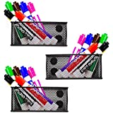 Workablez Magnetic Pencil Holder Set of 3 - Mesh Storage Baskets Extra Strong Magnets - Perfect Marker Pen Organizer Set Holds Securely Your Whiteboard Locker Accessories