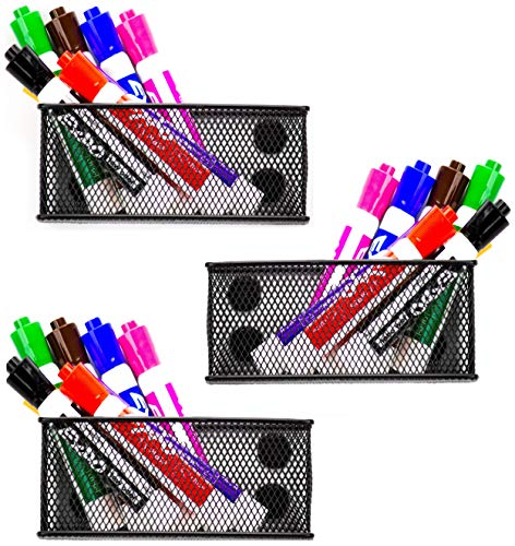 Magnetic Pencil Holder Set of 3 - Mesh Storage Baskets with Extra Strong Magnets - Perfect Marker and Pen Organizer Set Holds Securely Your Whiteboard and Locker Accessories