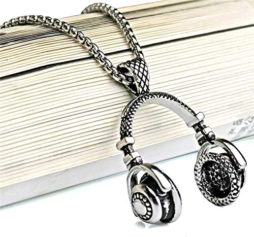 Inveroo Music Dj Headphone Pendant Necklaces Stainless Steel Chain Men Women Hip Hop Jewelry Rock Headset Necklace Music Gift