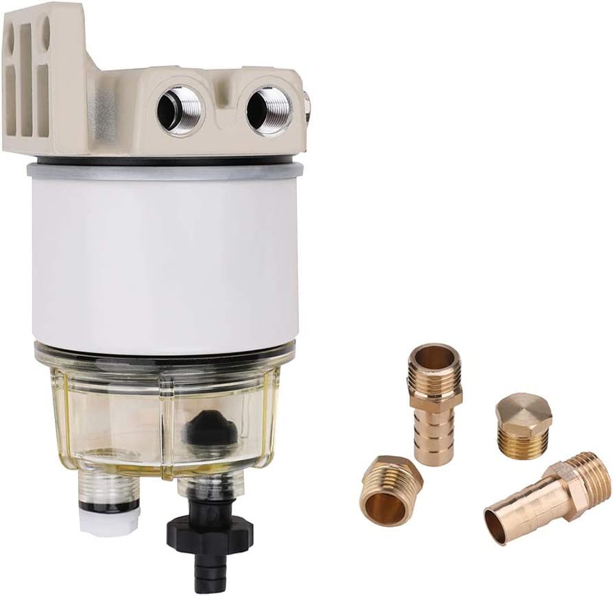 R12T Fuel Filter Water Separator with Clear Bowl and Fittings 120AT NPT ZG1/4-19 Spin-on Filter Water Separator Assembly 10 Micron Element For Marine Diesel Engine Outboard Motors - Replaces # S3240
