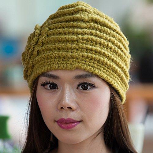 Flores Coreana Invierno de Mano otoño Ms versión Maozi Punto Grueso Sombrero el Yellow a de Punto para YELLOW de estéreo Boina Hecha 58HwFq