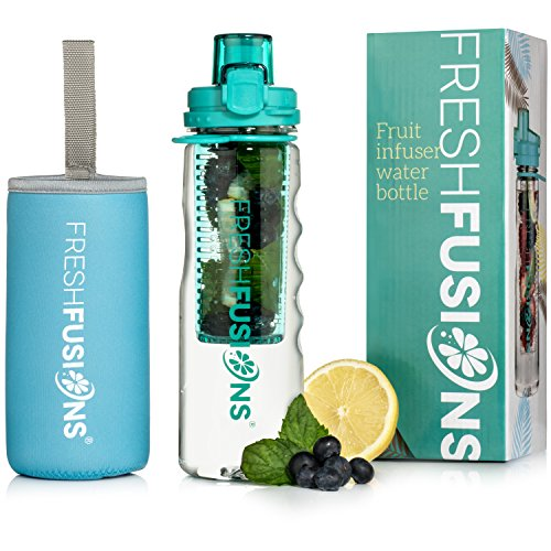 Fresh Fusions Fruit Infuser Water Bottle 25 oz - With Insulated Sleeve + Healthy Recipe Ebook - Includes 25 Infused Water Recipes (Teal)