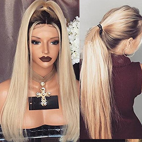 Lace Front Wigs Straight Ombre Blonde Human Hair Wig with Baby Hair for Black Women (24inch, 130% density lace front wig) by KRN