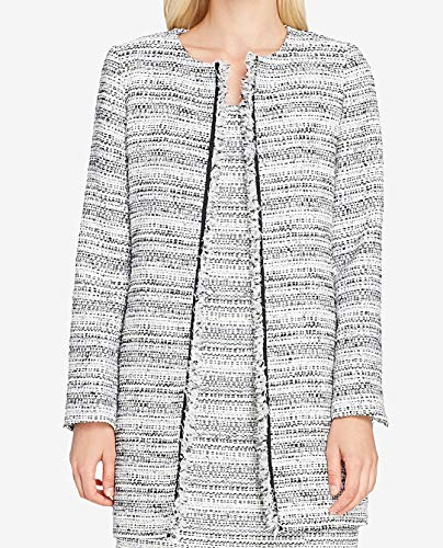 Tahari ASL Womens Petites Tweed Fringe Trim Open-Front Blazer Blue 10P